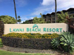 Sign entrance at Lawai Beach Resort